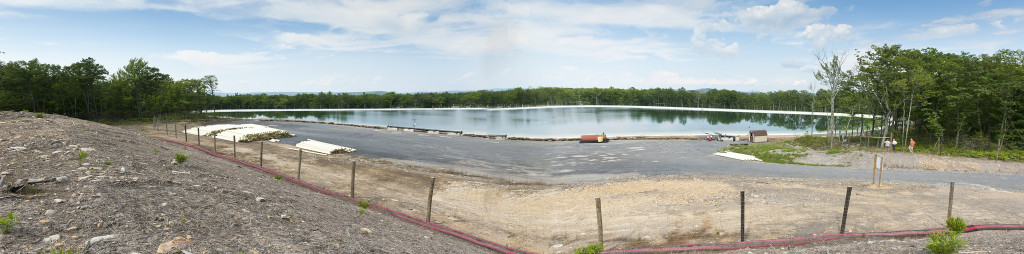 Shale gas wastewater storage pond, Pennsylvania USA